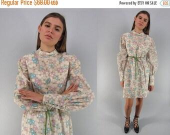 On Sale - Vintage 60s Baby-Doll Mod Dress, Floral Dress, Poet Sleeve Dress, Burn Out Velvet Dress Δ size: lg