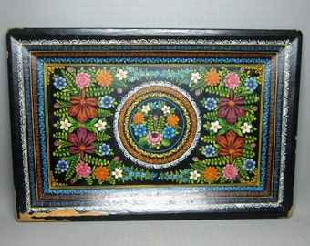 vintage / antique OLINALA lacquer painted wooden tray mexico