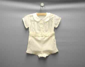 Vintage Baby Clothes, 1920's Ivory Dotted Swiss Two Piece Baby Boy Romper, Vintage Baby Romper, Ivory Baby Romper, Size 12 Months