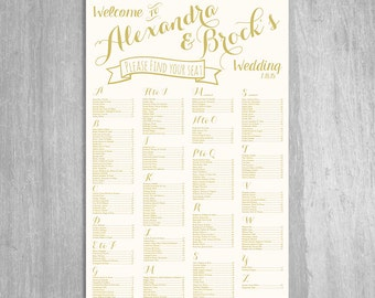 Vintage Gold Wedding Seating Chart - Digital File  - Choose Any Size Needed - By Table Number or Alphabetically