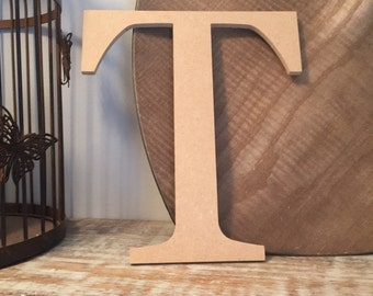 "wooden letters, wall letter, not free-standing, unpainted, Roman font, letter T,  8"" - READY TO SHIP"