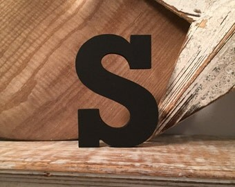 Hand-painted Wooden Letter S, Wall Letter, 9mm thick - Rockwell Font - Various sizes, finishes and colours