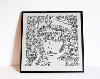 Corto maltese poster - The Hugo Pratt Sailor Portrait - Limited Edition - doodle details based on the story of corto