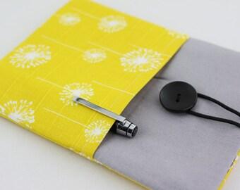 iPad mini / iPad Case, iPad Sleeve, iPad Cover, PADDED, with pockets - Yellow & White Dandelion