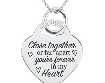 Close together or Far Apart Necklace, Personalised, 925 Sterling Silver, Long Distance Relationship