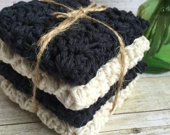 Crochet Dish/Wash Cloth Set of 4 Black & Off White Handmade by Julie 100% Cotton Spa Bath Facial Gift Idea Basket Filler Bridal Shower