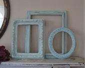 Reserved - Set of  3 Open Wall Frames - Custom for Jen White Distressed - Shabby Chic Decor