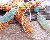Shimmering Ocean Asymmetrical Sea Glass Earrings