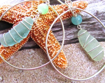 Shimmering Ocean Asymmetrical Sea Glass Earrings
