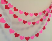 Valentines day decorations - Happy Valentines Day decor- PINK AND RED Valentine hearts Garland - Valentines garlands- Valentines photo props
