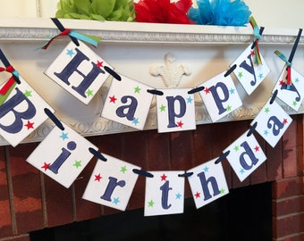 Birthday Banner / Gender Neutral Birthday Party Decorations / Birthday Party Garland / Happy 1st 2nd 3rd 50th Birthday Your color choices