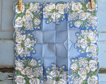 Vintage Unused Blue Floral Hanky 1379