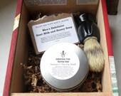 Indonesian Teak Scented Cigar Box Deluxe Shave/Shaving Set Kit - Oliva Serie V