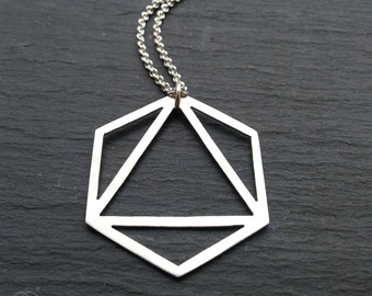 Large Platonic Solid Pendant - Octahedron -  Handcrafted sterling silver geometry