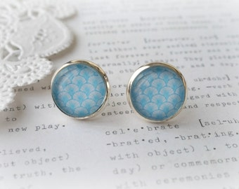Round Glass Light Blue and White Retro Arch Wallpaper Print Stud Earrings
