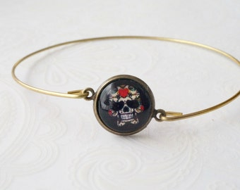 Thin Antique Brass Bangles with Sugar Skull Cab