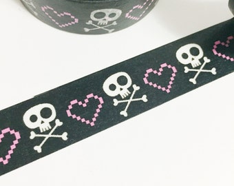 Solid Black with Pink Pixelated Heart With Skull and Cross Bones Washi Tape 11 yards 10 meters 15mm Skull Black Skull Bones