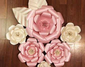 3D Wall Flowers -  Large Paper Flower Set of 6 - Custom Colors Available
