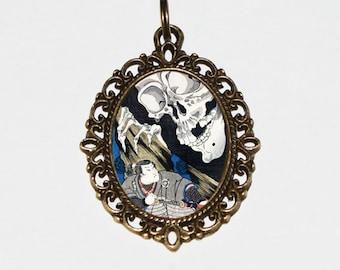 Samurai Skeleton Necklace, Skull, Japanese Art, Woodblock Print, Ukiyo-e Jewelry, Bronze Oval Pendant
