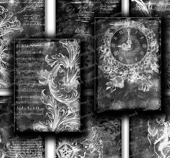 Antique old Black Paper  BACKGROUNDS ornament   Gift tags, ACEO ,  printable Digital Collage Sheet to Download and Print 111