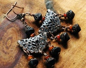 Chandelier Earrings, Copper Filigree, Dark Brown African Wooden  and Amber Horn Beads, Bohemian Style, Mongolian Tribal Design