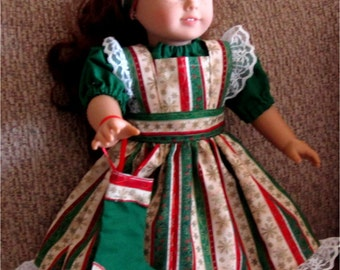 """Doll Clothes  Green Red Gold Holiday Stripe  Pinafore Christmas Stocking Green Blouse and Headband fits American Girl or Similar 18"""" Doll"""