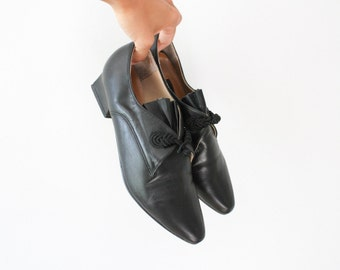 vintage black leather pointed toe oxfords 8