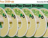 BIG SALE Baby Closet Dividers Organizers Assembled or PreCut DIY Farm Tractor Green Yellow Boy Nursery Gift Hanger Size Dividers Clothes Org