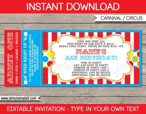 Carnival Ticket Invitation Template  Carnival Party  Circus Party