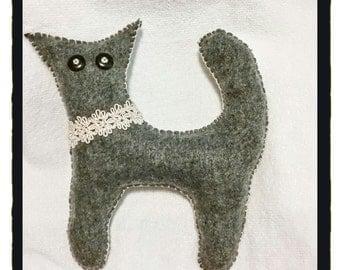 Stuffed Fleece Plush Kitty, Chloe the Kitty, handmade plush kitty, nursery gift, cute plush kitty, kitty doll, grey kitty