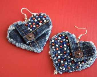 Earring - Recycled Levi's Denim - Heart-Shaped, Hand-Beaded, Red, White and Blue - Upcycled