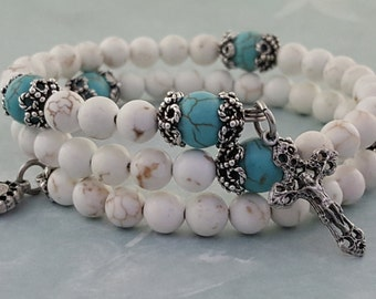 Rosary Bracelet, White Magnesite, Turquoise, Miraculous Medal, Strong Stainless Steel, Five Decade, Memory Wire, Handcrafted, Wrapped Rosa