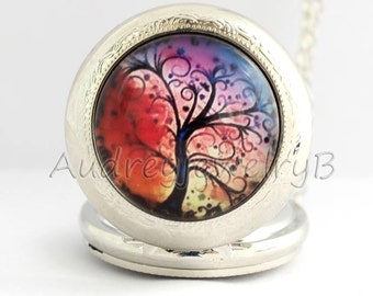 1pcs Tree of Life Watch Pendant with chain /pocket watch/Bridesmaid Christmas gifts, friends children's giftsThanksgiving Valentine's Day