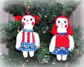 Folk Art Christmas Raggedy Ann Doll Christmas Ornies Ornaments Set of 2 keb#2