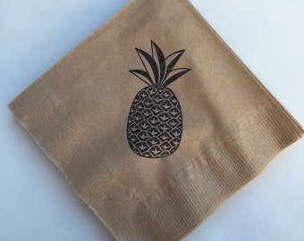 Pineapple Beverage Napkins / Set of 50 / Perfect for Parties / Recycled Paper Product