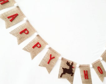 SALE HAPPY HOLIDAYS Burlap Bunting with Felt Letters and Reindeer