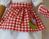 18 inch American Girl Clothes-Red and Yellow Apron with Oven Mitts D016