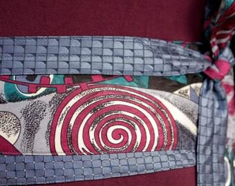 Tsunami -  Obi Wrap Belt Recycled Silk Ties Blue Pink Wave
