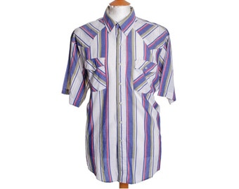 Vintage SADDLE KING Western Shirt Pearl Snap Striped - XL (18322)