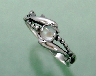 Two Dolphins with Crystal Rainbow Moonstone Ring Sizes 2 through 8