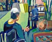 Original Painting, Holding Hands, Figure Art, acrylic paint, Older Couple