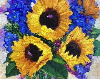 Original oil painting:  Sunflowers and Delphiniums, deep canvas, floral, still life fine art