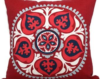 Red Suzani  Pillow Indoor Outdoor Decorative Pillow Cover, 17x17, accent pillow, throw pillow