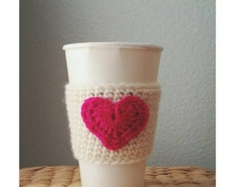 Crochet Coffee Sleeve Coffee Cup Sleeve with Heart Reusable Sleeve