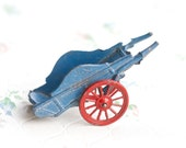 Lead Farm Cart - Antique Iron Cast Toy - Made in England - Blue and red