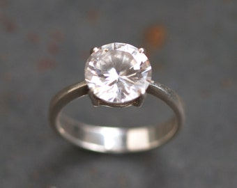 Large Solitaire Ring - Crystal Rock Sterling Silver Ring Size 7.5