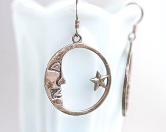 Star and Moon Earrings - Sterling Silver Vintage Dangle Earrings - 80s Fashion