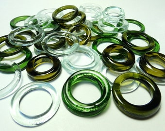 Recycled  Multi Colors Recycled Kiln Polished Bottle Rings 36 Rings (R985)