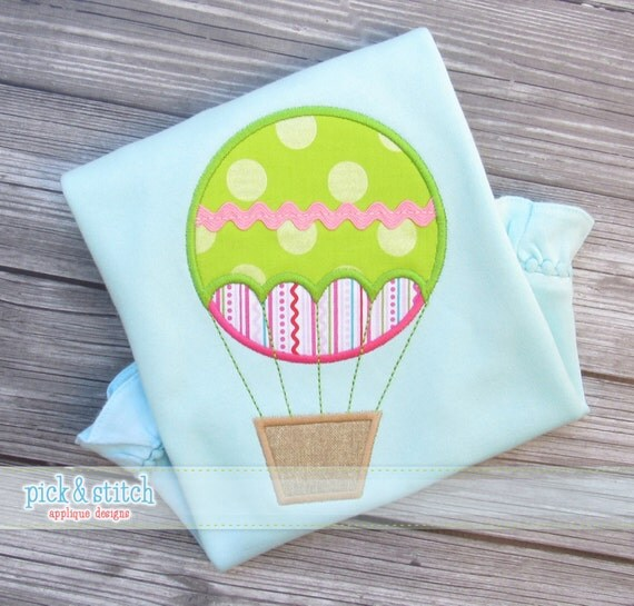 Hot Air Balloon Applique Design Machine Embroidery INSTANT DOWNLOAD