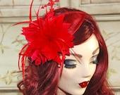 Red Fascinator - Fascinator Hat - Red Kentucky Derby Fascinator Hat - Red Wedding Fascinator - Tea Party Hat -  British Fascinator